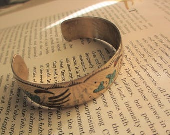 Vintage Sterling Silver Native American Cuff Bracelet Inlaid Turquoise Bear Claw