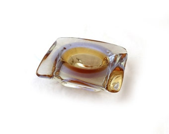 Vintage retro mid century purple and amber clear heavy hand blown art glass trinket dish