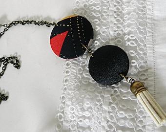 Graphic fabric tassel necklace