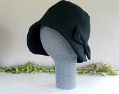 EXTRA LARGE black brimmed cloche hat with bow