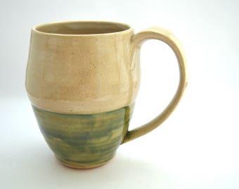 Ceramic Coffee mug, 10oz mug, Tea cup, Kitchen, White, Green, Coffee cup, Ceramic mug, Handmade mug