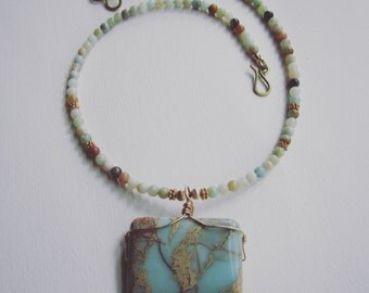 Wire wrapped Impression Jasper and Amazonite Pendant Necklace