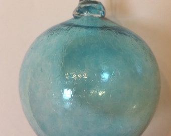 Copper Blue Hand Blown Glass Ornament