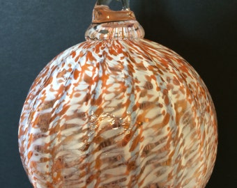 Apricot Pink Orange Optic White Hand Blown Glass Ornament