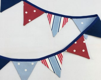 Mini Bunting, Nautical Bunting, Red White and Blue Bunting, Fabric Buntin g, Mini Seaside Bunting, Mini Pennant Banner, Mini Flag Garland