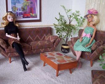 1:6 Sofa, Chair, Ottoman & Bonus Table for Fashion Royalty, Barbie