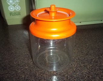 Vintage 1980s Tupperware Acrylic Canister Ultra Clear Series Counterparts with orange lid