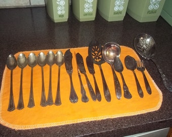 Vintage Silver Utensils - 6 ice tea spoons, butter knives, gravy ladles, dessert spoon, pickle fork, etc -