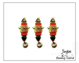 Beading Patterns, Instructions, Tutorials, Peyote Stitch, Barrel Earrings, Christmas Decorations, Ornaments Instant Download Pattern JINGLES