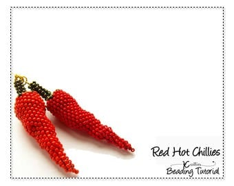 Seed Bead Peyote Stitch Chillies Quick to Bead Chilli Earrings Beading Pattern Kitchen Decor Beadweaving Instructions Tutorial RED CHILLIES