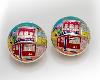 New Orleans Streetcar Sterling Silver Hand Painted Earrings
