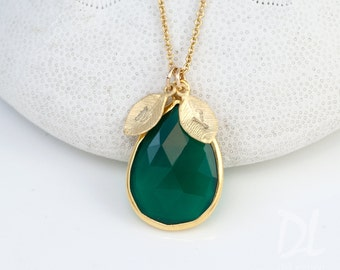 Personalized Mothers Day Gift, Green Onyx Necklace, Personalized Jewelry For Mom, Birthstone Necklace - Gold Necklace - Personalized Jewelry