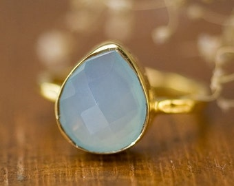 SALE - Aqua Blue Chalcedony Ring - Solitaire Ring - Sea Foam Green Stone Ring - Tear Drop Ring - Stacking Ring - Gold Ring -