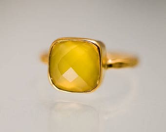 40 OFF - Yellow Chalcedony Ring - Gemstone Ring - Stacking Ring - Gold Plated - Cushion Cut Ring