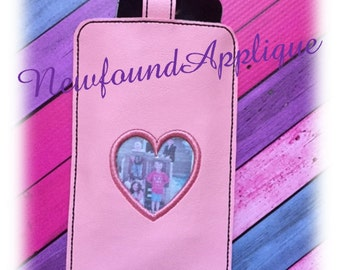 In The Hoop Heart Cell Phone Case Embroidery Machine Design