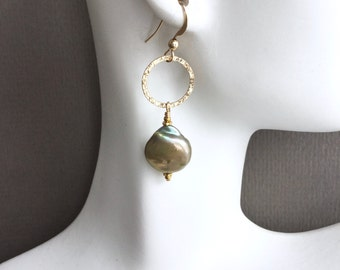 Sage green coin pearl earrings, gold accents, 14kt gold filled everyday, Mother's day jewelry E207