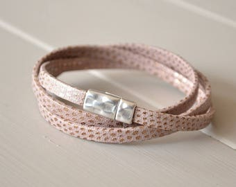 Taupe Leather Bracelet, Leather Multi Wrap Bracelet, Wrist Straps, Leather Wrist Bands, Faux Snakeskin