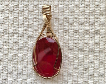 Ruby Red Oval Wire Wrapped Pendant