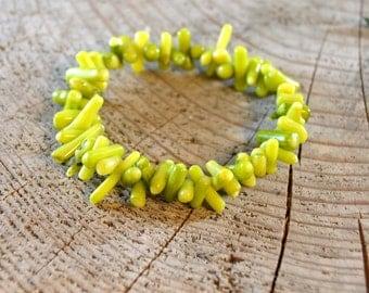 Light Green Coral Bracelet - Silicone Cord Bracelet - Adjustable Size Bracelet - Natural Gemstone Stretch Bracelet - Handmade Jewelry