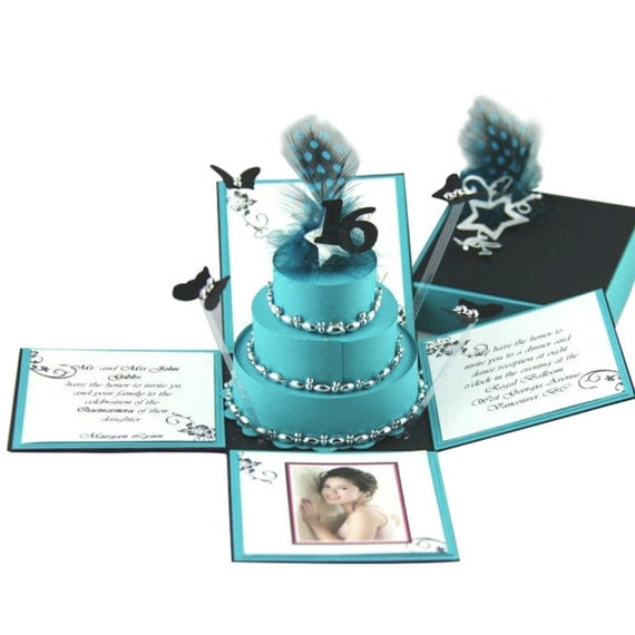 Turquoise & Black  Exploding Box Invitation w/ 3-Tier Cake
