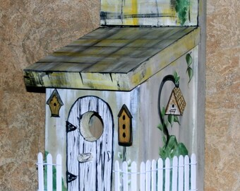 Hand Crafted Wood Birdhouse-Yellow,Black & White Plaid Bird House - Hand Crafted In The USA - Ready To Ship