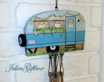 Hand Crafted Wood Travel Trailer Camper Wind Chime Hand Painted-Hollow Aluminum Chimes