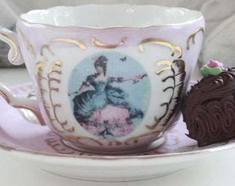 Marie Antoinette Teacup & Saucer, Pink and Gold, TEA SET AVAILABLE (7 Pieces), Shabby Chic Teacup, Marie Antoinette Tea Set, Customizable