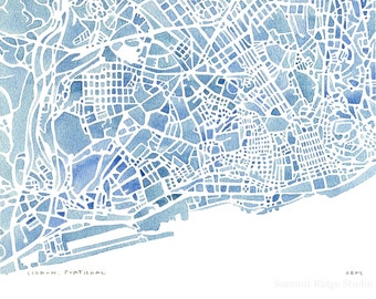 Lisbon Portugal blue watercolor map 5x7, 8x10, 11x14, 12x16 print