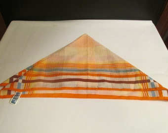 "Vintage Orange Plaid Cotton Scarf 20""x19"" - Made in Japan"