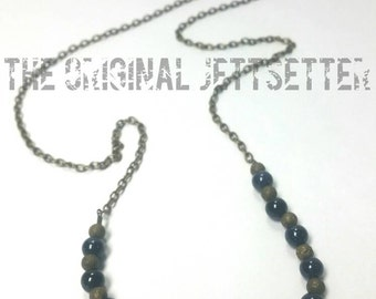 Blue Goldstone Necklace - Antiqued Brass Necklace