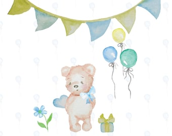 Hand painted Watercolor Teddy Bear Clip Art High Resolution Digital Graphic Cards Stationary Print Art Greeting Scrapbooking