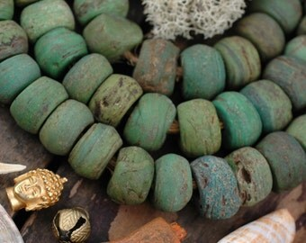 Antique Green Hebron Beads: African Glass 12x8-22x16 Graduated Large Hole Boho Jewelry Making Supplies, Rare Vintage Tribal Necklace, 48 pcs