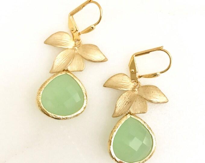 Mint Teardrop Drop Earrings with Gold Orchid. Mint Dangle Earrings. Bridesmaids Earrings. Jewelry Gift.  Mint Drop Earrings. Christmas Gift.