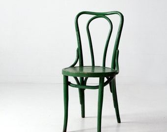 1930s bentwood chair, green wood accent chair