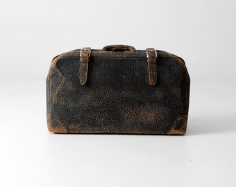 1930s leather suitcase, black luggage