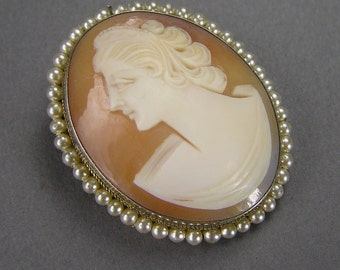 Italian Cameo Pendant, Carved Shell, Hand Made, 800 Silver, Pendant and Brooch Combination, Vintage European Jewelry