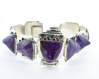 Mexican Sterling Silver Amethyst Scarab Bracelet