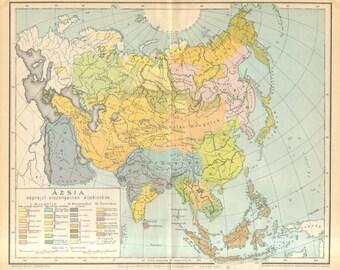 1893 Antique Ethnographic Map of Asia