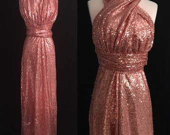 Rose Gold Sequins Bridesmaids Dress ... Floor Length Convertible Dress...50 Colors... Bridal Party, Wedding Dress, Prom Dress, Party Dress