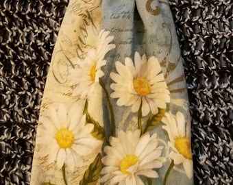 READY TO Ship--Crochet Kitchen Towel--Double Layer Hanging Towel--Spring-- Daisies