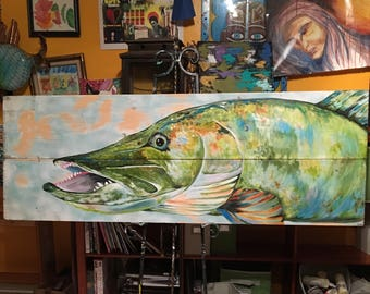 Muskie on Recycled Wood