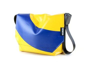 Messenger Bag made from Upcycled Truck Tarp, Water resistant Laptop Bag, Courier Bag, Satchel, Shoulder Bag (R07)