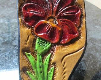 Western key chain, leather key ring, custom tooling key fob, Sheridan styling key ring, ladies key chain