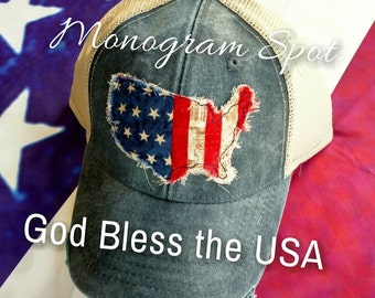 Women Distressed Trucker * USA *  American flag * Patch cap