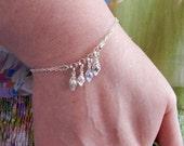 Black Friday Cyber Monday Peas in a pod Charm Bracelet, Sterling Silver Bracelet, Birthstone Bracelet, Mothers Bracelet