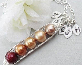 Christmas Sale Sweet Peas In A Pod 2, 3,4 Or 5 Pearls Colors Of Fall - Pick And Mix Your Colors