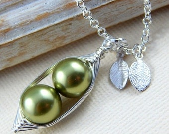 Christmas Sale Peas In A Pod Necklace 2 , 3 Or 4 Peas Pick Your Color Pearl