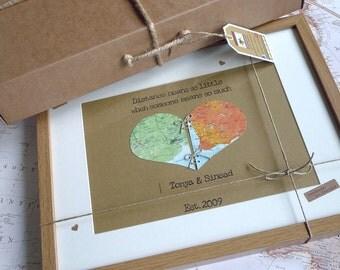 Love or Friendship Map Heart Personalised Keepsake - Framed Love Heart - Map of Love - Handmade in Ireland