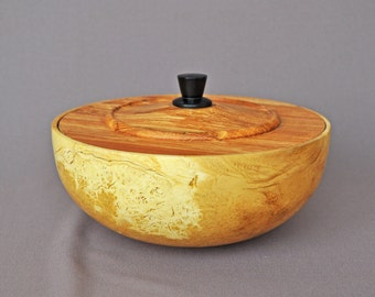 Lidded Bowl in Pear and Locust Burl