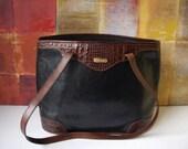 BRAHMIN Handbag Black Leather Brown Croc Trim Tote
